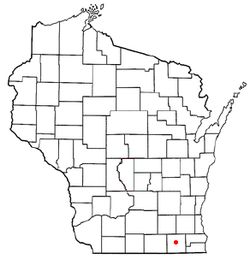 Location of Elkhorn, Wisconsin