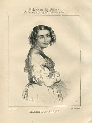 Virginie Ancelot - Lithograph of Virginie Ancelot by Marie-Alexandre Alophe
