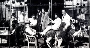 Leo Birinski - One of the few known images of Birinski. Breake during the shooting of the motion picture Das Wachsfigurenkabinett; Leo Birinski is on the right, sitting on the white horse (c. 1923).