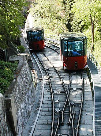 Schlossbergbahn (Graz) - The latest cars at the passing loop