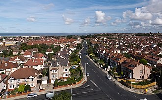 Wallasey - View from the top of St Hilary's Church Tower looking down Claremount Road