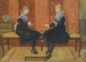 Edmund Routledge - His daughters Violet and Lily, painted by Walter Crane