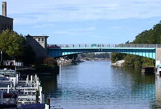Manistee, Michigan - Bascule bridge and river waterfront in downtown Manistee