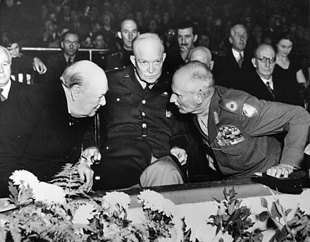 Churchill with American General Dwight D. Eisenhower and Field Marshal Bernard Law Montgomery at a meeting of NATO in October 1951, shortly before Churchill was to become prime minister for a second time Wc0279.jpg