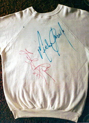 "We Are the World - Back of the ""We Are the World"" sweater autographed by Michael Jackson and Lionel Richie"