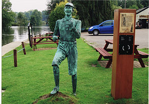 Wherryman's Way - Life-size sculpture of Billy Bluelight at Woods End public house near Bramerton on the route of the Wherryman's Way