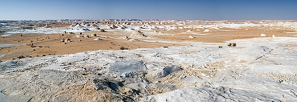 Panorama of the White Desert in Egypt