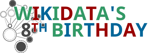 Wikidata 8th birthday logo dark.png