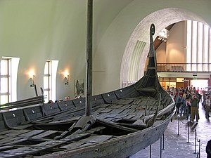Viking ships - The preserved remains of the Oseberg Ship, now located in the Viking Ship Museum (Oslo).