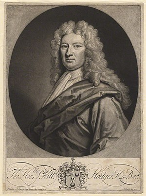 Sir William Hodges, 1st Baronet - Sir William Hodges, 1st Baronet, 1715 portrait by John Smith after Godfrey Kneller