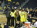 Wisconsin vs. Michigan women's basketball 2013 26 (Michigan huddle).jpg