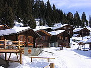 Wood houses in the Swiss Alps.