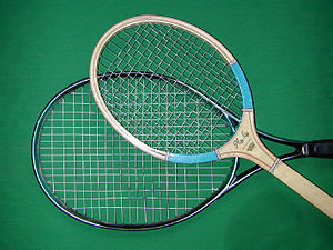 Sports engineering - A tennis racket made of an advanced material such as carbon fibre reinforced plastic can have a larger head than a traditional racket made of wood.