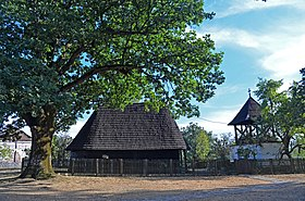 Wooden church and bell tower in Ljutovnica, Serbia, north view.jpg