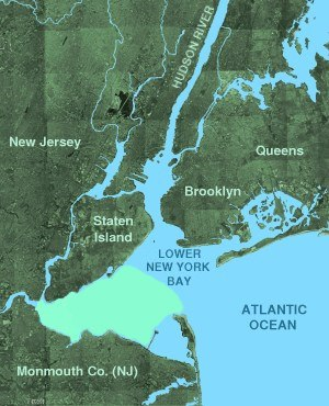 Raritan Bay - Raritan Bay is shown as highlighted area south of Lower New York Bay and north of Monmouth County.