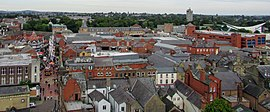 Wrexham town centre viewed from St Giles' Church.jpg
