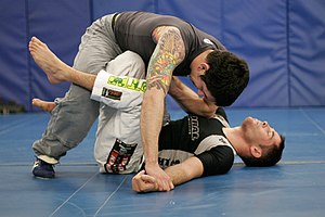 The x-guard being used in BJJ competition