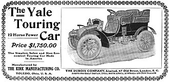 Yale (automobile) - Kirk Manufacturing Company - The Yale Touring Car - 1904