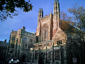 Yale Law School - Yale Law School is housed in the Sterling Law Building, erected in 1931. Modeled after the English Inns of Court, the law building is located at the heart of Yale's campus and contains a law library, a dining hall, and a courtyard.
