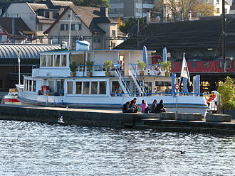Wädenswil - Motor ship Glärnisch serving as Restaurant at Wädenswil harbour