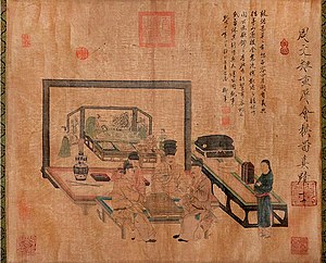 History of Go - Go players, a painting by the artist Zhou Wenju, 11th century, Song Dynasty