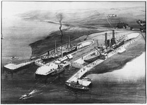 "San Francisco Naval Shipyard - ""Artisit's Conception of Proposed Improvements for Hunters' Point when acquired by Bethlehem Shipbuilding Corp. LTD."" circa 1900"