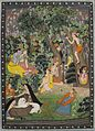 'Krishna and Radha Playing with Gopis in a Garden', dated 1770, Honolulu Museum of Art, 10918.1.JPG