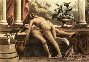 De figuris Veneris - Dildo being used by two women: lithograph from De Figuris Veneris (1906) by Édouard-Henri Avril