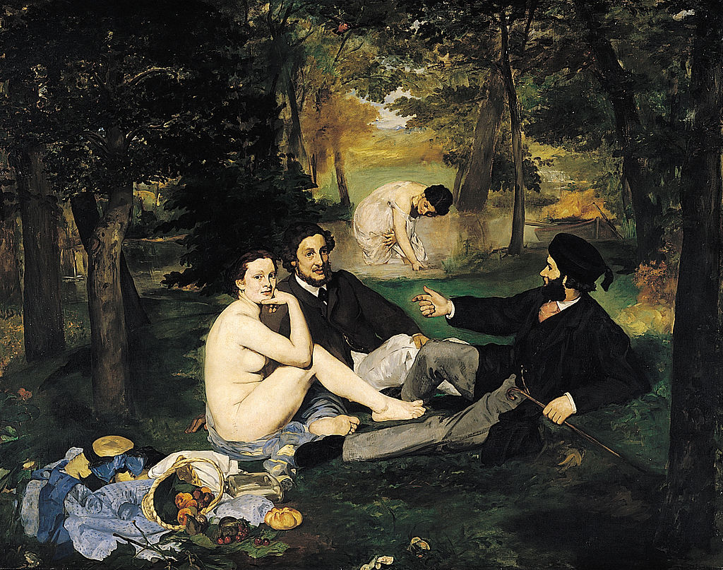 Le Déjeuner sur l'herbe, peint en 1862 et 1863 par Édouard Manet (musée d'Orsay, Paris).  (définition réelle 1642×1294)