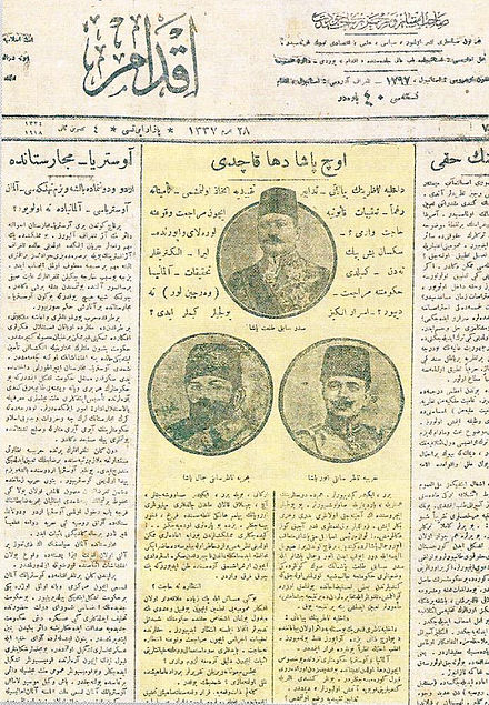 "The front page of the Ottoman newspaper Ikdam on 4 November 1918 after the Three Pashas fled the country after being indicted for war crimes against the Armenians and Greeks. It reads: ""Their response to eliminate the Armenian problem was to attempt the elimination of the Armenians themselves."" Ikdam, 4 Kasim 1918.jpg"