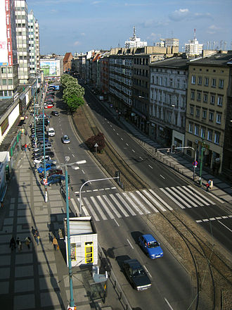 Święty Marcin - View of the central part of the street, looking eastwards
