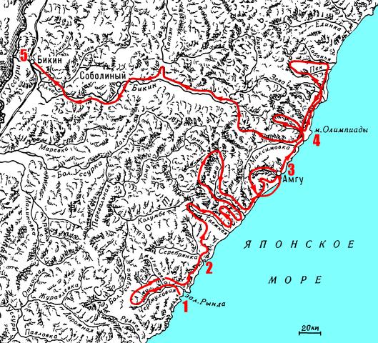 Карта маршрута экспедиции 1907 года. 1 — залив Рында, 2 — бухта Терней, 3 — бухта Амгу, 4 — мыс Олимпиады, 5 — станция Бикин
