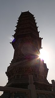 Pagoda of Bailin Temple Tower in Hebei, China