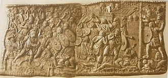 Hadrian - A relief scene on Trajan's Column in Rome, 2nd-century monument attributed to Apollodorus of Damascus (monochrome graphics by Conrad Cichorius), showing a Roman legion storming a Dacian fortress during Trajan's Dacian Wars