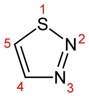 Azole - Image: 1,2,3 thiadiazole numbered 2D skeletal