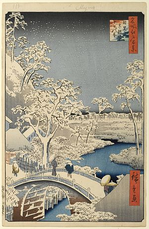 Bokashi (printing) - In this print, Hiroshige used bokashi in the water, at the horizon, at the top of the print, and in the square cartouche