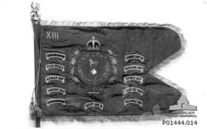 13th Light Horse Regiment (Australia) - The 13th Light Horse Regiment's guidon bearing their battle honours