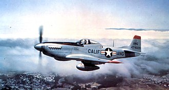 144th Fighter Wing - F-51D-30-NA Mustang, AF Ser. No. 44-74825, flying over Northern California, 1948
