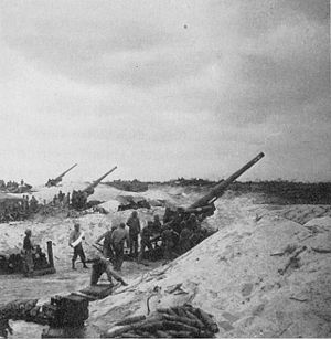 155 mm Long Tom - M2 during the Battle of Okinawa.