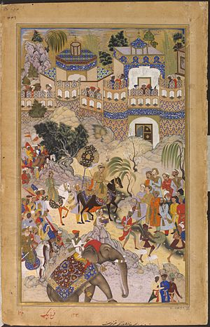 Akbar's conquest of Gujarat - Akbar's triumphal entry into Surat, 1572, Akbarnama
