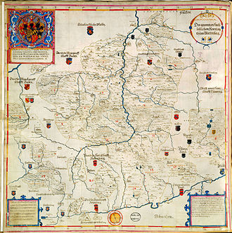 Old Württemberg - The Duchy of Württemberg in 1596: places under foreign lordship have been marked with a red dot by Gadner