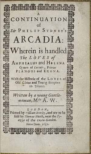 Anna Weamys - The title page of a 1651 edition of Weamys' continuation of the Arcadia.