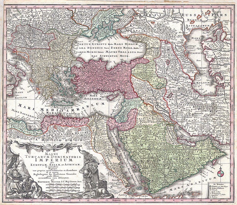 1730 Seutter Map of Turkey (Ottoman Empire), Persia and Arabia - Geographicus - MagniTurcarum-seutter-1740