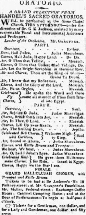 Gottlieb Graupner - Image: 1813 Graupner Kings Chapel Boston Repertory Feb 2