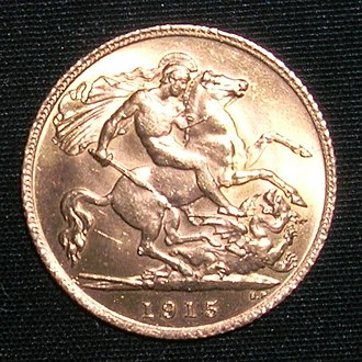 Five pounds (British gold coin) - Image: 1915 half sov reverse