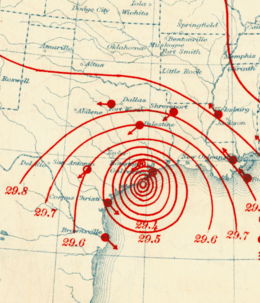 1915 Galveston hurricane isobars Aug 16 1915 8 p.m. CT.png