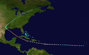 1915 Atlantic hurricane season - Image: 1915 Galveston hurricane track