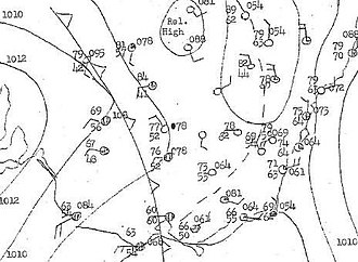 1947 Sydney hailstorm - The barometric map for 9:00 am, from Newman's Bureau of Meteorology report of the storm.