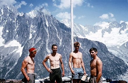 John Harlin II, Tom Frost, Gary Hemming, and Stewart Fulton at the L'Envers des Aiguille Hut in 1963. 1963 aiguille du fou.jpg