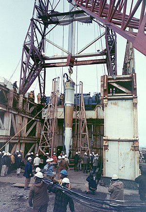 Cannikin - The canister for the Cannikin test lowered into the test shaft